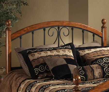 Hillsdale Furniture 1258H Burton Way Headboard with Rails Not Included, Elongated Oval Finials, Black Powder Coat Metal and Slender Posts in Cherry Finish