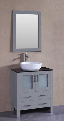 """Bosconi AGR130BWLBGX XX"""" Single Vanity with Black Tempered Glass Top, Oval White Vessel Sink, F-S02 Faucet, Mirror, 2 Doors and X Drawers in Grey"""