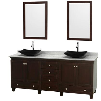 """Wyndham Collection Acclaim 80"""" Double Bathroom Vanity with 4 Doors, 6 Drawers, 2 Mirrors, Brushed Chrome Hardware, White Carrera Marble Top and Arista Black Granite Sinks in"""