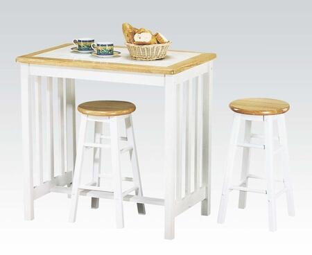"""Acme Furniture Metro 02140 34"""" 3 PC Counter Height Breakfast Set with 2 Round Seat Stools, Tile Top Table, Slats Design and Wood Construction in"""