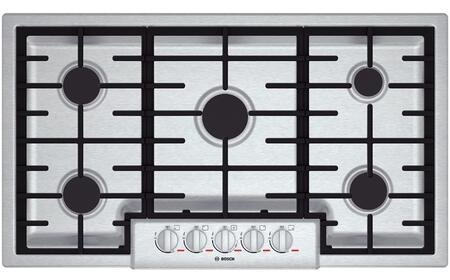 Bosch Benchmark NGMPx55UC Gas Cooktop with 5 Sealed Burners, Cast Iron Continuous Grates, Centralized Controls and Heavy-Duty Metal Knobs in Stainless Steel