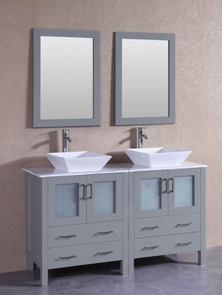 "Bosconi AGR230SQCMX XX"" Double Vanity with Carrara Marble Top, Flared Square White Ceramic Vessel Sink, F-S02 Faucet, Mirror, 4 Doors and X Drawers in Grey"