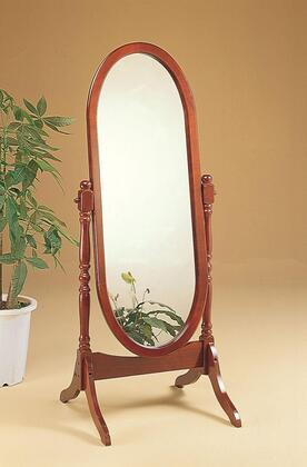 """Coaster Accent Mirrors 59"""" Tilting Cheval Mirror with Oval Shape, Turned Posts and Wood Construction in"""