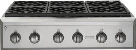 "GE Monogram ZGU366X 36"" Professional Gas Cooktop with 6 Sealed Dual Flamed Stack Burners, Electrionic Ignition with Automatic Reignition, Reversable Burner Grate, In Stainless Steel"