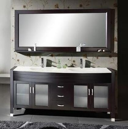 "Virtu USA Ava UM-3073- 71"" Double Sink Bathroom Vanity in Espresso with x Countertop, Matching Mirror, PS-103 Faucets, 4 Doors and 3 Drawers"