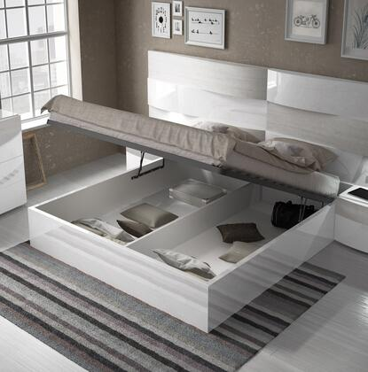 ESF Cordoba Collection Panel Bed with Wooden Slat Frame and Storage Compartment