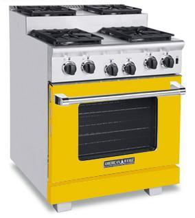American Range ARR304SYW Titan Series Yellow Gas Freestanding Range with Sealed Burner Cooktop, 4.8 cu. ft. Primary Oven Capacity,