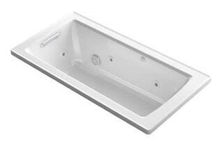 "Kohler K-1947-H- Archer 60"" x 30"" Drop-In Whirlpool Bath Tub with Heat and Comfort Depth Design"