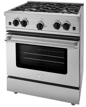 """BlueStar RCS30SBSS 30"""" Freestanding Gas Range with Four Sealed Burners, Island Trim, Precise Simmer Burner, Full Motion Grates, Extra-Large Convection Oven, and Infrared Broiler"""