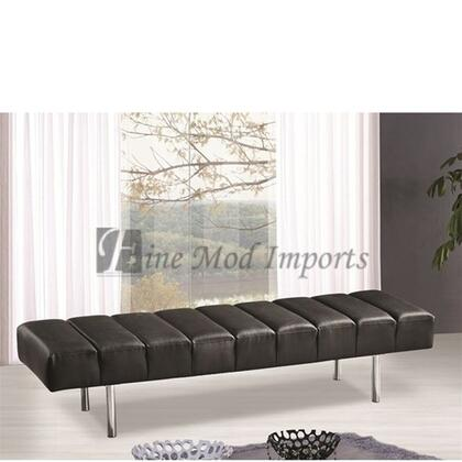 Fine Mod Imports FMI2207BLACK Accent Armless Stainless Steel Leather Bench