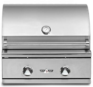 "Delta Heat DHBQ26G-Cx 26"" Built-In Premier Outdoor Grill with 304 Stainless Steel Construction, 2 Stainless Steel U-burners, 420 sq. in. Grilling Space, and Temperature Gauge, in Stainless Steel"