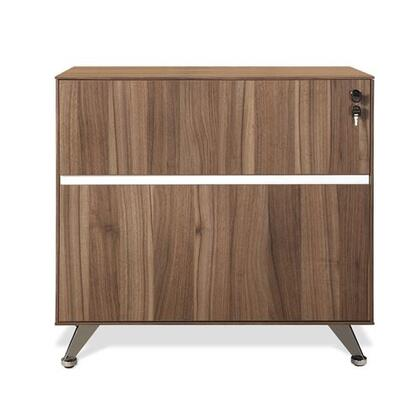 "Unique Furniture 300 Collection 32"" Lateral Filing Cabinet with 1 File Drawer, 1 Utility Drawer, Drawer Lock, Non Scratch Surface, Chrome Base and High Pressure Melamine in"