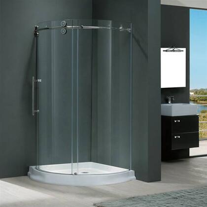 "Vigo VG6031XXCL40WL 40"" x 40"" Frameless Round 5/16"" Shower Enclosure Left Sided Door with White Base:"
