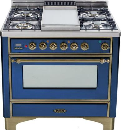 """Ilve UM90MPBLY 36"""" Majestic Series Blue Dual Fuel Freestanding Range with Sealed Burner Cooktop, 2.8 cu. ft. Primary Oven Capacity, Warming"""