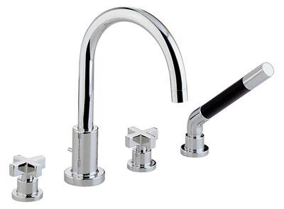 Rohl BA26L- Modern Collection 4-Hole Deck Mounted Bathtub Filler with Handshower: