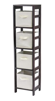 Winsome 92X41 Capri 4-Section N Storage Shelf with 4 Foldable Fabric Baskets