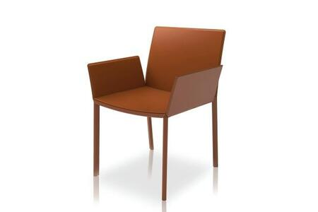 Modloft CDC114C0 Sanctuary Series Modern Leather Metal Frame Dining Room Chair