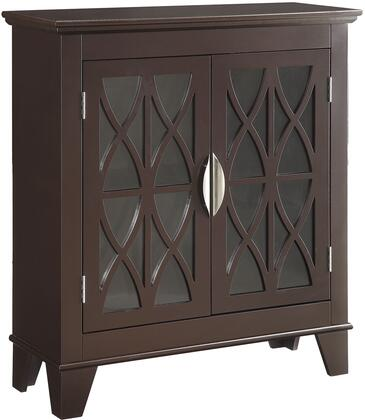 "Coaster Accent Cabinets 95031 32"" Accent Cabinet with 2 Glass Doors, Lattice Front Design, Metal Hardware and Tapered Legs in"