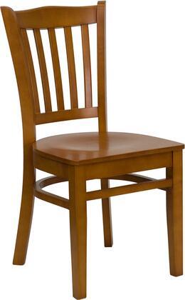 "Flash Furniture HERCULES Series XU-DGW0008VRT-XX-GG 17.75"" Heavy Duty Vertical Slat Back Wooden Restaurant Chair with Commercial Design, Plastic Floor Glides, and Hardwood Construction"