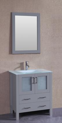 """Bosconi AGR130EWGUX XX"""" Single Vanity with Clear Tempered Glass Top, Integrated Sink, F-S01 Faucet, Mirror, 2 Doors and X Drawers in Grey"""