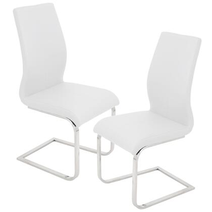 "LumiSource Foster DC-FSTR Set of (2) 38"" Dining Chair with PU Leather Upholstery, Stainless Steel Legs and Stitched Detailing in"