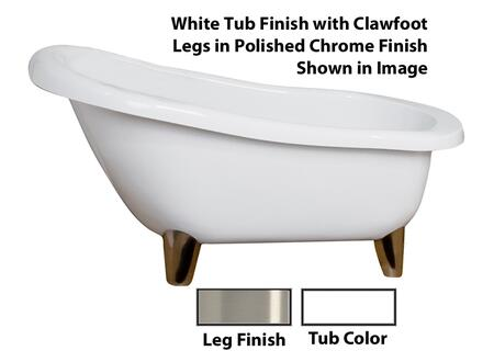 """Barclay ASN61MEWH Franco 61"""" Acrylic Roll Top Slipper Tub, Tub in White Finish, Modern ClawFoot Design, No Overflow, No Faucet Holes, with Clawfoot Finish in"""