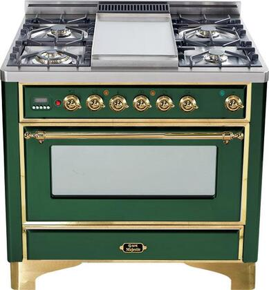 """Ilve UM90FMPVS 36"""" Majestic Series Dual Fuel Freestanding Range with Sealed Burner Cooktop, 2.8 cu. ft. Primary Oven Capacity, Warming in Green"""