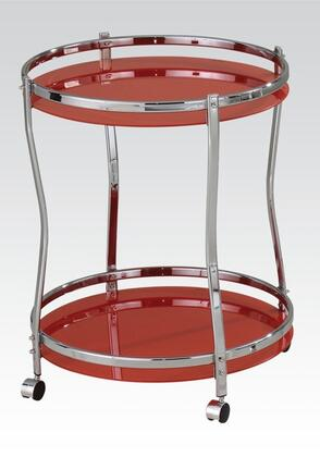 """Acme Furniture Corey 24"""" Round Serving Cart with Chrome Metal Frame, Mobility Casters and Tempered Glass in"""