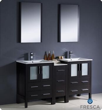 "Fresca Torino Collection FVN62-241224XX-UNS 60"" Modern Double Sink Bathroom Vanity with Side Cabinet, 7 Soft Closing Drawers and Integrated Sinks in"