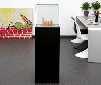 Bio-Blaze BB Freestanding Bio Ethanol Column Fireplace with 1 Adjustable Burner, 9553 BTU Heat Capacity, 4 Casters, 4 Heat Resistant Glasses, Extinguish Tool and Powder Coated Steel