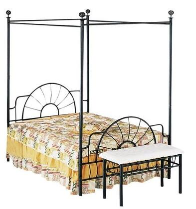 Acme Furniture 02084 Sunburst Canopy Bed with Metal Construction, Spherical Finials and Simple Posts in Sandy Black Finish