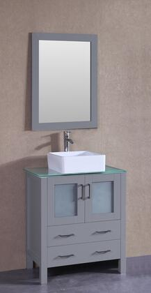 "Bosconi AGR130CBECWGX XX"" Single Vanity with Clear Tempered Glass Top, Square White Ceramic Vessel Sink, F-S02 Faucet, Mirror, 2 Doors and X Drawers in Grey"