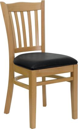 "Flash Furniture HERCULES Series XU-DGW0008VRT-NAT-XXV-GG 19.25"" Heavy Duty Natural Wood Finished Vertical Slat Back Wooden Restaurant Chair with Vinyl Seat, Commercial Design, and Plastic Floor Glides"