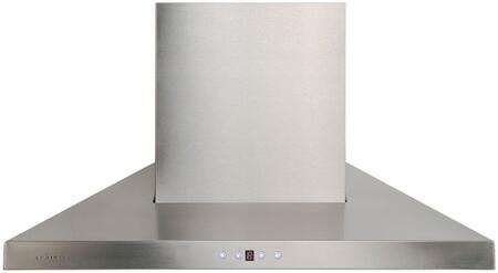 Cavaliere AirPRO 238 Professional AP238-PSL Wall Mount Range Hood With 860 CFM, Touch Sensitive Blue LED Control Panel, Baffle Stainless Steel Filters, Ultra Quiet Single Chamber Motor In Stainless Steel