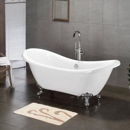 "Cambridge ADES7DH Acrylic Double Ended Slipper Bathtub 68"" x 28"" with 7"" Deck Mount Faucet Drillings"
