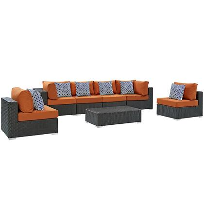 Modway Sojourn Collection EEI-2379-CHC- 7-Piece Outdoor Patio Sunbrella Sectional Set with 4 Armless Chairs, Coffee Table and 2 Corner Sections in