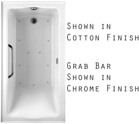 Toto ABR782L12YCPX Clayton Series Drop-In Airbath Tub with Acryclic Construction, Slip-Resistant Surface, and Polished Chrome Grab Bar, Sedona Beige Finish