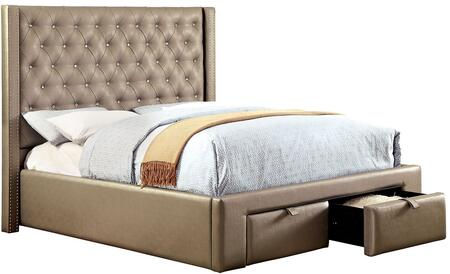 Furniture of America Corina CM7180 Bed with Contemporary Style, 2 Drawers in Footboard, Padded Leatherette Platform Bed and Crystal-like Acrylic Button Tufting in Silver