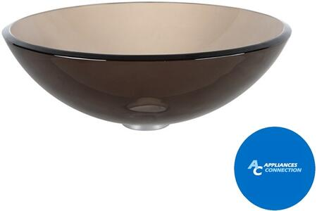 "Kraus CGV1031412MM18CH Singleton Series 14"" Round Vessel Sink with 12-mm Tempered Glass Construction, Easy-to-Clean Polished Surface, Clear Brown Glass, Chrome Finish"
