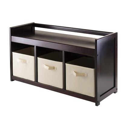Winsome 92Addis Addison Storage Bench with 3-section in Espresso Finish