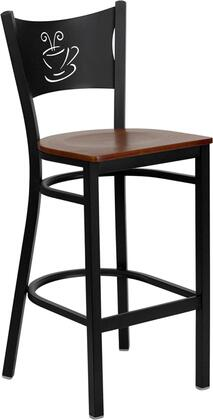 "Flash Furniture HERCULES Series XU-DG-60114-COF-BAR-XXW-GG 29"" Heavy Duty Coffee Back Metal Restaurant Bar Stool with Wood Seat, Commercial Design, Foot Rest Rung, and Plastic Floor Glides"