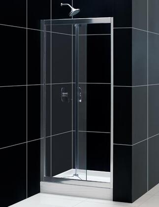 DreamLine SHDR-453X726-01 Butterfly Bi-Fold Shower Door With Clear Glass Door Reversible For Right Or Left Door Opening Configuration, Out-Of-Plumb Adjustment Up To 1 On Each Side & In Chrome Finish