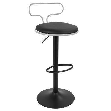 """LumiSource Contour BS-CONTR 33"""" - 40"""" Barstool with Adjustable Height, 360 Degree Swivel and PU Leather Upholstery in"""