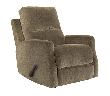 "Signature Design by Ashley Fambro Collection 6370X25 32"" Rocker Recliner with Low-Profile Padded Arms, Chenille Upholstery and Pull Lever Recline in"
