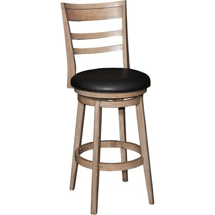 Powell Casper Collection D1022B16 Stool with Curved Wood Slat Back, Black PU Upholstery and Swivel in Restoration Grey