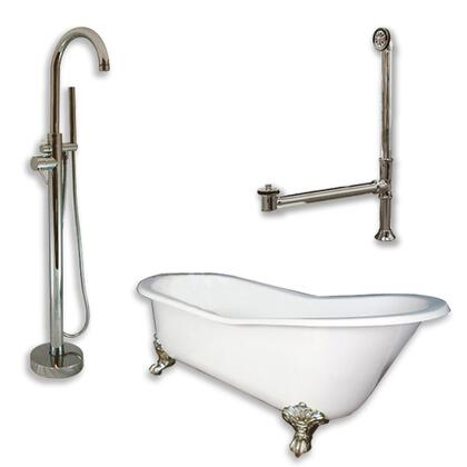 "Cambridge ST61150PKG Cast Iron Slipper Clawfoot Tub 61"" x 30"" with no Faucet Drillings and Complete Modern Freestanding Tub Filler with Hand Held Shower Assembly Plumbing Package"