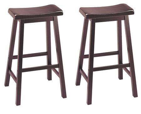 Acme Furniture 0730 Gaucho Bar Stools with Saddle Seat, Square Legs and Solid Hardwoods and Veneers in