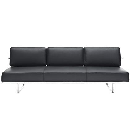 Modway EEI626BLK Charles Series Convertible Leather Sofa