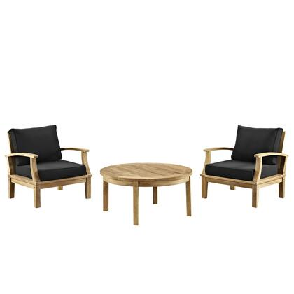 Modway EEI-1475-NAT Marina 3 Piece Outdoor Patio Teak Two Chair and Round Table Set with Water/UV Resistant Cushions, Machine Washable Covers, and Solid Teak Wood Construction