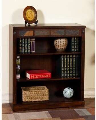 """Sunny Designs Santa Fe Collection 2952DC- XX"""" Bookcase with X Adjustable Shelves and Natural Slate Accents in Dark Chocolate Finish"""